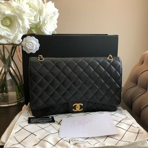 Chanel maxi double flap caviar leather